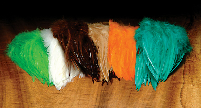 "Hareline Saddle Hackle dyed over White 5"" - 7"""