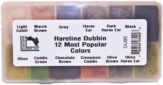 Hareline Dubbin Dispenser - 12 Most Popular Colors