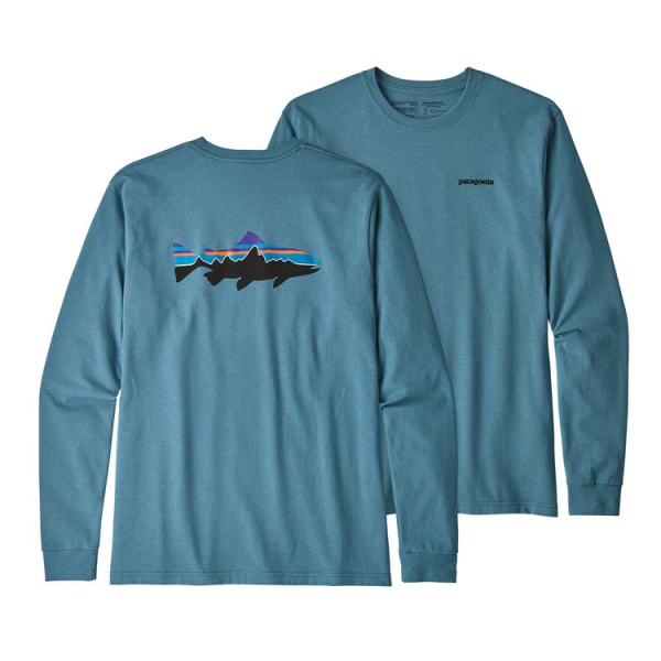 Patagonia Long-Sleeved Fitz Roy Trout Responsibili-Tee Mako Blue