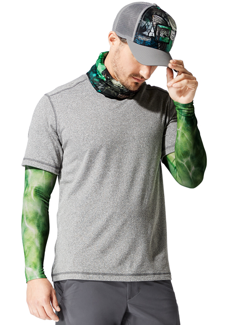 Buff UV Insect Shield Arm Sleeves Bugslinger Water Camo Green Model