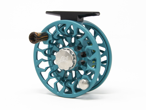 Abel SDF 4/5 Fly Reel Custom Shop Satin Teal Native Brook Trout Handle Back