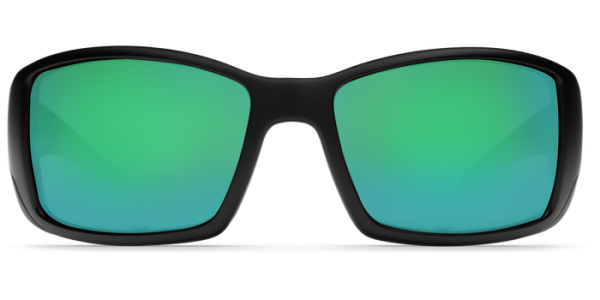6ceb5ea44c Costa Del Mar Blackfin Polarized Sunglasses Matte Black Green Mirror Glass  Front