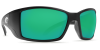 Costa Del Mar Blackfin Polarized Sunglasses Matte Black Green Mirror  Glass