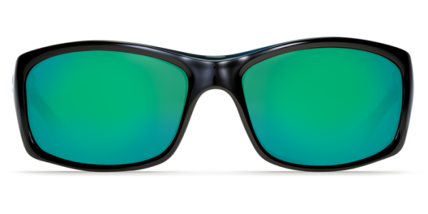 Costa Del Mar Jose Polarized Sunglasses Shiny Black Green Mirror Poly Front