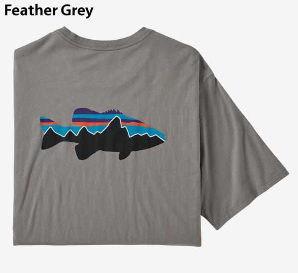 Patagonia Fitz Roy Smallmouth Organic Cotton T-Shirt Feather Grey