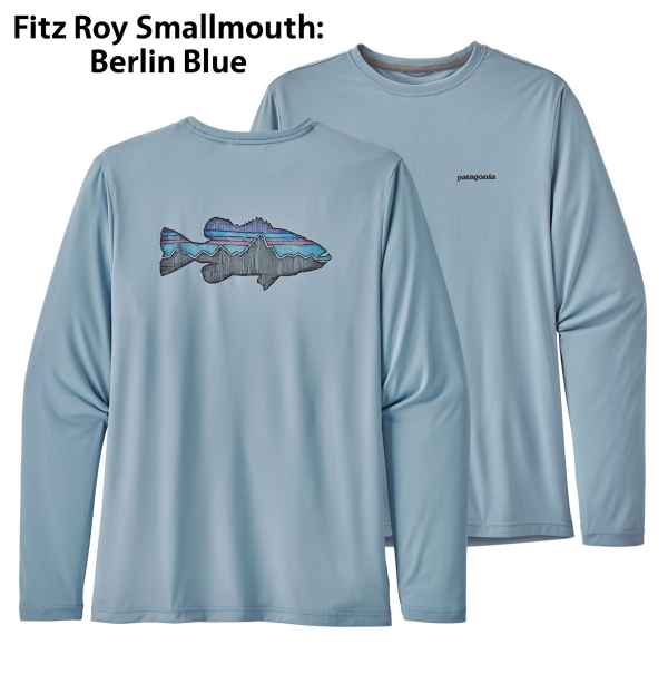 Patagonia LS Capilene Cool Daily Fish Graphic Tee Sketched Smallmouth Berlin Blue 52147 SRSB
