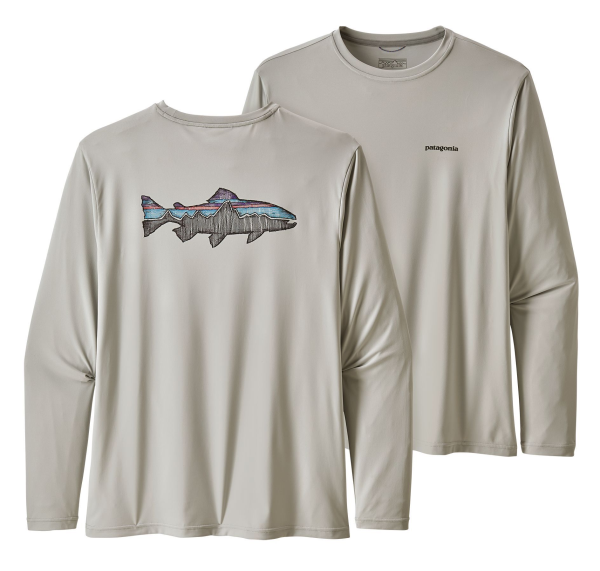 Patagonia LS Capilene Cool Daily Fish Graphic Tee Sketched Trout Tailored Grey