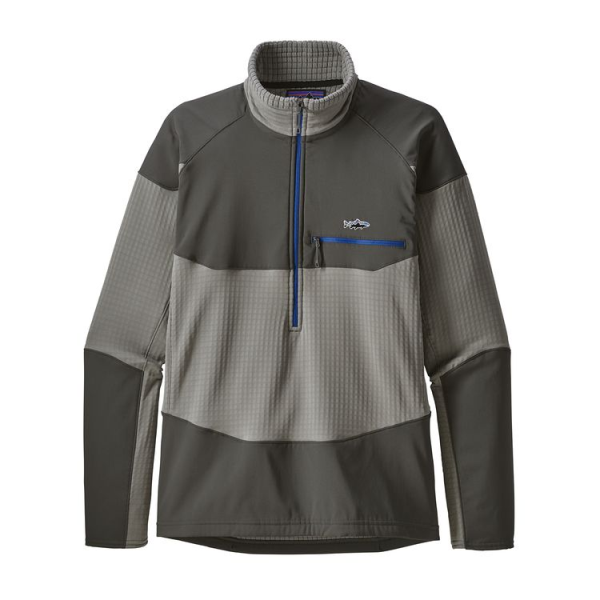 Patagonia Long-Sleeved R1 Fitz Roy 1/4-Zip Feather Grey