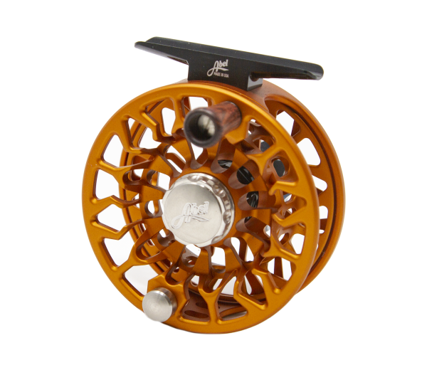 Abel SDF 4/5 Satin Orange Custom Fly Reel Back