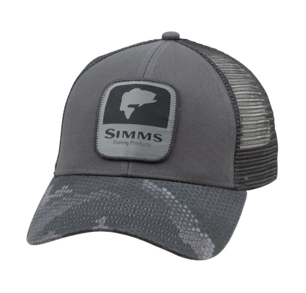 Simms Bass Patch Trucker Hat Hex Camo Carbon