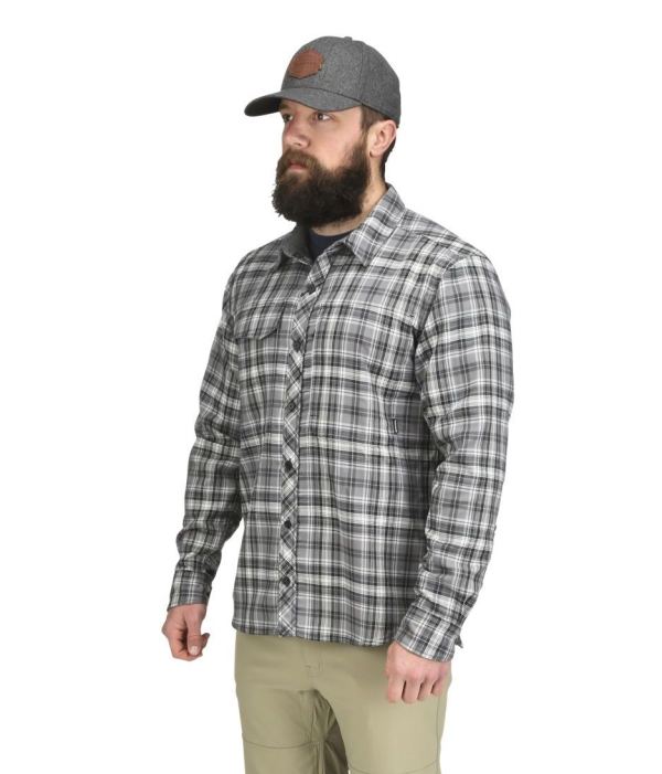 Simms Guide Flannel Shirt Steel Plaid Model