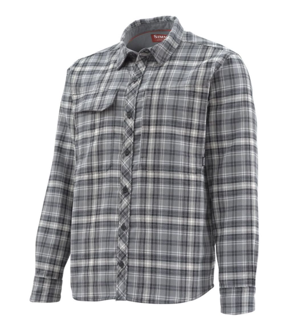 Simms Guide Flannel Shirt Steel Plaid Side