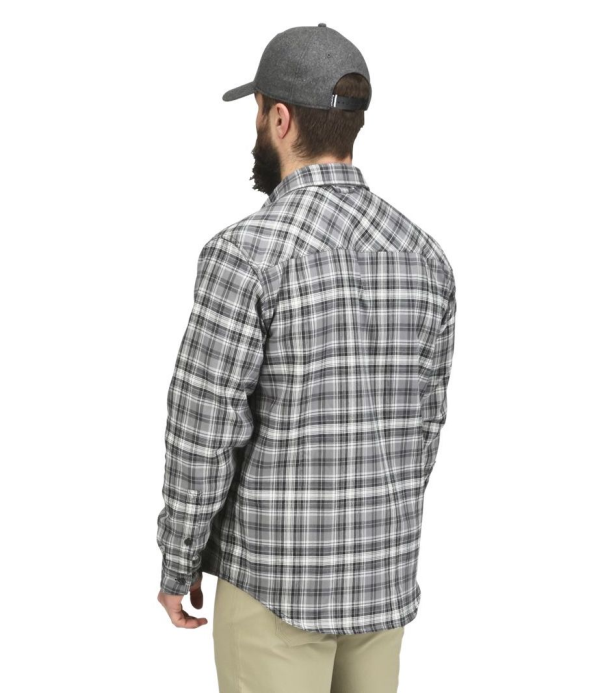Simms Guide Flannel Shirt Steel Plaid Model Back