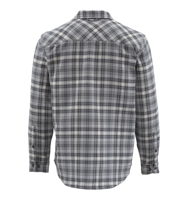 Simms Guide Flannel Shirt Steel Plaid Back