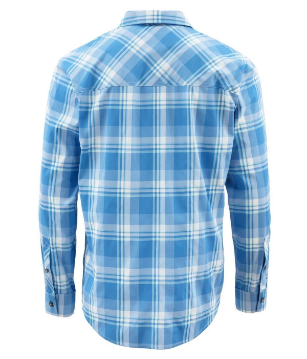 Simms Outpost LS Shirt Pacific Plaid Back