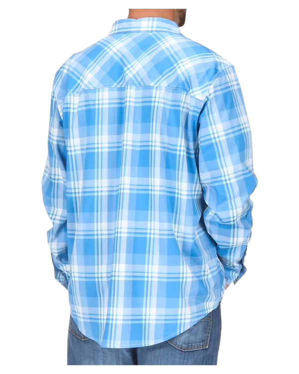 Simms Outpost LS Shirt Pacific Plaid Model Back