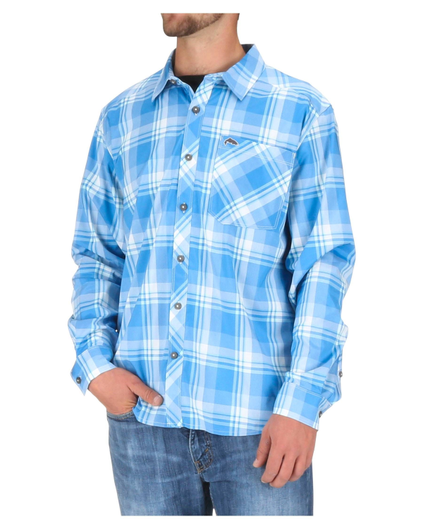 Simms Outpost LS Shirt Pacific Plaid Model