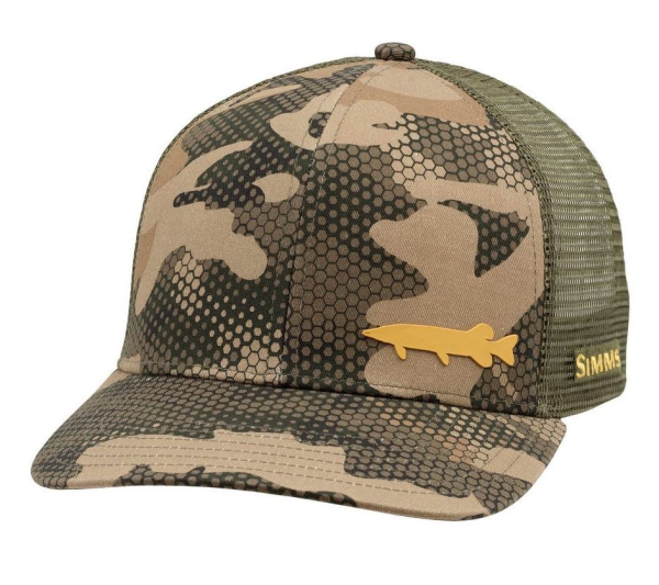 Simms Payoff Trucker Hat Hex Flo Camo Timber