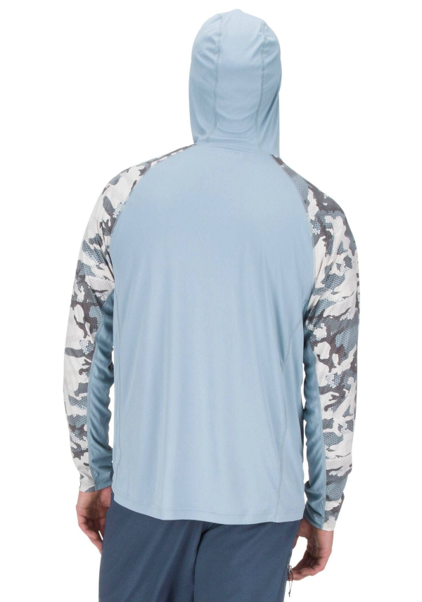 Simms Solarflex Hoody Hex Flo Camo Grey Blue Model Back