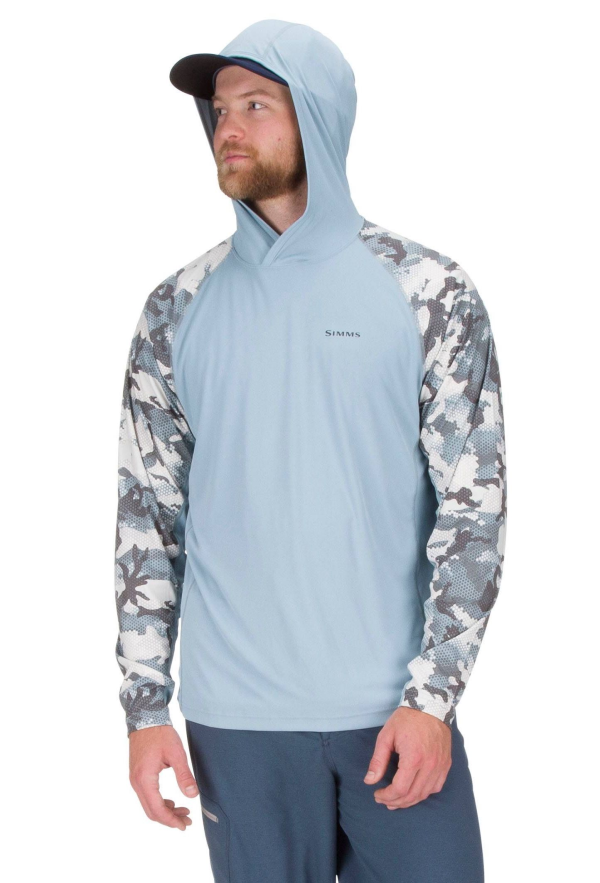 Simms Solarflex Hoody Hex Flo Camo Grey Blue Model