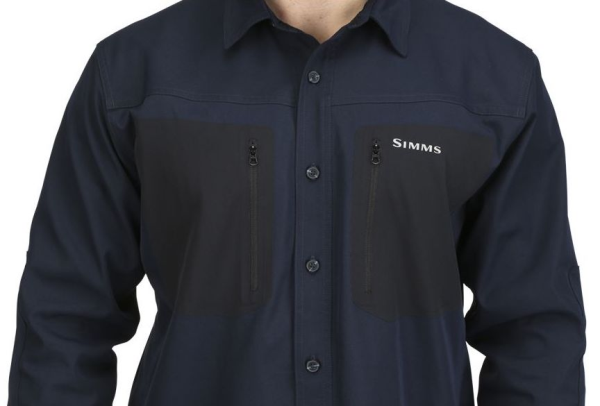 Simms Tongass Fishing Shirt Admiral Blue Chest