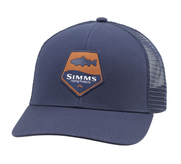 Simms Trout Patch Trucker Hat Admiral Blue