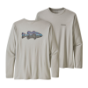 Patagonia LS Capilene Cool Daily Fish Graphic Tee Sketched Fitz Roy Smallmouth Tailored Grey