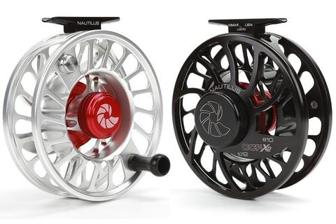 Side view silver and black Nautilus fly reel
